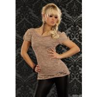 Dopasowana, koronkowa bluzka w kolorze beżowym z krótkim rękawami - Louise - 8268-4