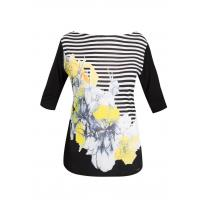 Monnari Pasiasty t-shirt z kwiatem TSH0500