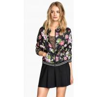 H&M Patterned bomber jacket 0214740008 Black/Floral