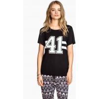 H&M T-shirt z nadrukiem 0241207023 Czarny