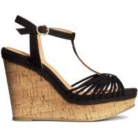 H&M Sandały na koturnie 0217477008 Czarny