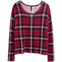 H&M Wzorzysty sweter 0319653003 Czerwony/Krata
