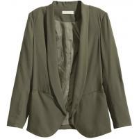 H&M Marynarka z krepy 0280784009 Zieleń khaki