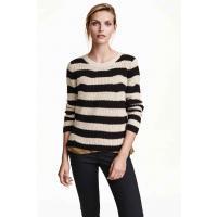H&M Sweter z dzianiny w prążek 0308982006 J. brązowoszar/Paski