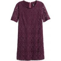 H&M Koronkowa sukienka 0318564007 Ciemnośliwkowy