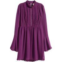 H&M Sukienka z koronką 0336330002 Śliwkowy