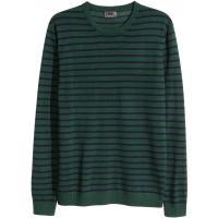 H&M Sweter z wełny merynosowej 0341189001 Ciemnozielony/Paski
