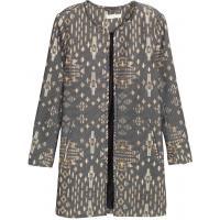 H&M Płaszcz z tkaniny z fakturą 0333898008 Czarny/Wzór
