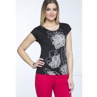 Monnari T-shirt ze szkicowanymi kwiatami TSH3980