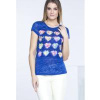 Monnari T-shirt z kwiatowym zdobieniem II TSH2420