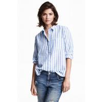 H&M Koszula z długim rękawem 0349429004 Niebieski/Paski