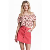 H&M Trapezowa spódnica 0366715024 Czerwony