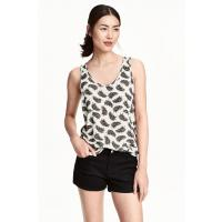 H&M Patterned vest top 0397638014 Natural white/Feathers