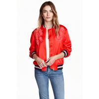 H&M Wyszywana kurtka bomberka 0419277001 Czerwony
