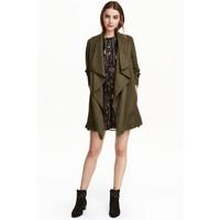H&M Drapowany płaszcz 0320686003 Zieleń khaki