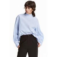 H&M Szeroka bluzka ze stójką 0423201003 Jasnoniebieski/Paski
