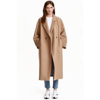 H&M Wełniany płaszcz oversize 0416536004 Beżowy