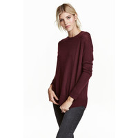 H&M Cienki sweter 0390125022 Burgundowy melanż