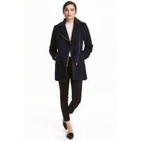 H&M Płaszcz z domieszką wełny 0411607001 Ciemnoniebieski