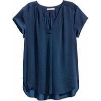 H&M Satynowa bluzka 0401485002 Ciemnoniebieski
