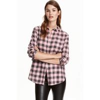 H&M Koszula flanelowa 0401484008 Jasnoróżowy/Krata