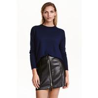 H&M Cienki sweter 0390125024 Ciemnoniebieski melanż
