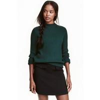 H&M Sweter w prążki 0405442008 Szmaragdowy
