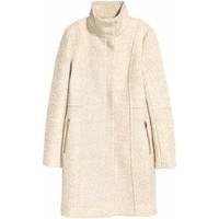 H&M Krótki płaszcz z wełną 0417642004 Jasnobeżowy melanż