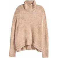 H&M Dzianinowy sweter z golfem 0428705003 Beżowy melanż