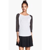 H&M Top z dżerseju 0226078020 Biały
