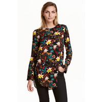 H&M Bluzka z długim rękawem 0421249007 Czarny/Kwiaty