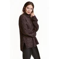 H&M Sweter z półgolfem 0428591002 Ciemnofioletowy melanż