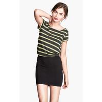 H&M Dżersejowy top 0215337036 Neonowożółty/Paski
