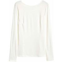 H&M Top z dżerseju w prążki 0425720007 Naturalna biel