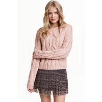 H&M Sweter w warkoczowy splot 0405586003 Szaroróżowy