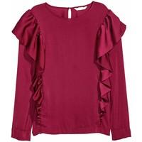 H&M Satynowa bluzka z falbanami 0432941004 Burgund