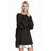 H&M Sweter oversize z moherem 0422441001 Ciemnoszary melanż