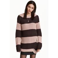 H&M Sweter w prążki 0317348002 Różowy/Paski
