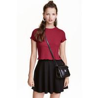 H&M Top w prążki 0439594005 Ciemnoczerwony