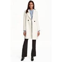 H&M Dwurzędowy płaszcz 0428396002 Naturalna biel