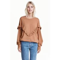 H&M Sweter oversize z falbaną 0422478003 Camel