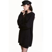 H&M Sweter w prążki 0317348002 Czarny