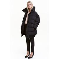 H&M Puchowa kurtka oversize 0463170001 Czarny