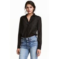 H&M Bluzka z długim rękawem 0430554007 Czarny/Brokatowy