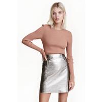 H&M Spódnica z powlekanej skóry 0462294001 Srebrny
