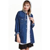 H&M Kurtka koszulowa z kapturem 0398639002 Niebieski denim