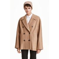 H&M Krótki płaszcz z wełny 0433211002 Beżowy