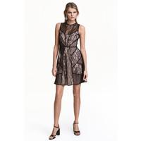 H&M Koronkowa sukienka 0454239001 Czarny/Pudrowy