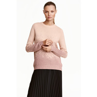 H&M Cienki sweter 0390642006 Pudrowy/Brokat