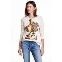 H&M Cienki sweter 0390642006 Naturalna biel/Indyk